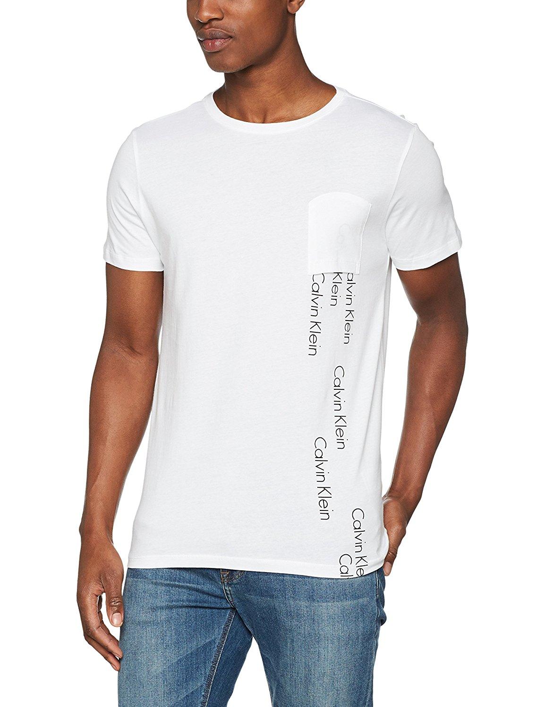 Zajímavé pánské tričko od značky Calvin Kleinv bílém provedení